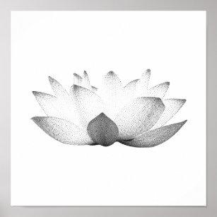 Vintage lotus flower posters photo prints zazzle elegant black white lotus floral poster mightylinksfo