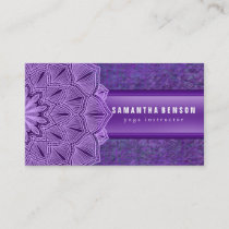 Elegant Black & white Lotus Flower Logo Yoga Business Card