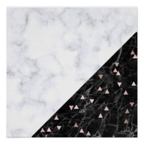 elegant black white marble rose gold geometric poster
