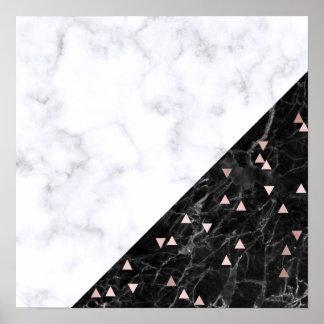 elegant black white marble rose gold geometric poster