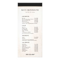 Elegant Black White Marble Salon Price List Menu