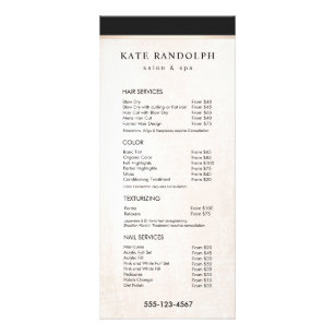 salon service menu rack cards zazzle