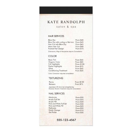 elegant black white marble salon price list menu zazzle com
