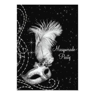 Elegant Black White Masquerade Party Card  Prom Invitation Templates