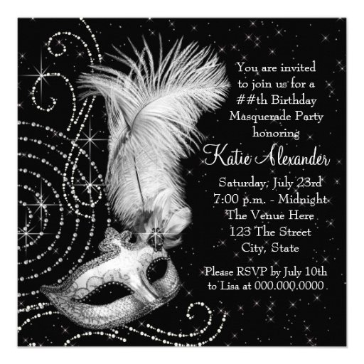 Elegant Black White Masquerade Party Personalized Invites (back side)