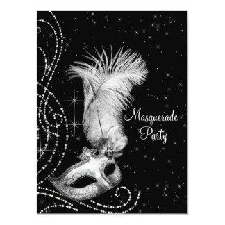 Elegant Black White Masquerade Party Personalized Announcements