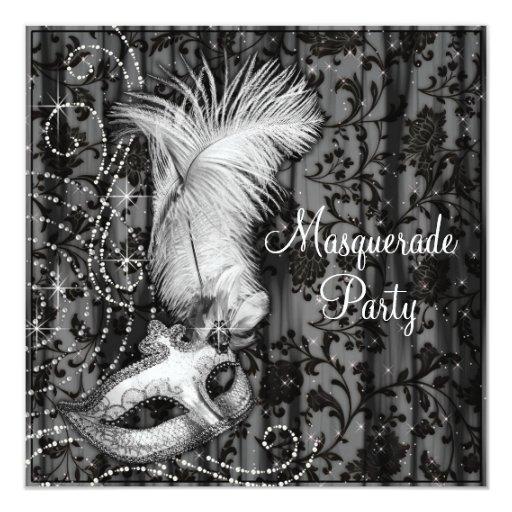 Elegant Black White Masquerade Party Personalized Invitation