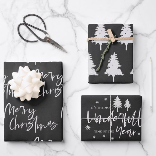 Elegant Black White Merry Christmas Quote Gift Wrapping Paper Sheets