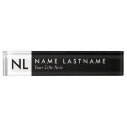 Elegant Black White Monogram Desk Nameplate
