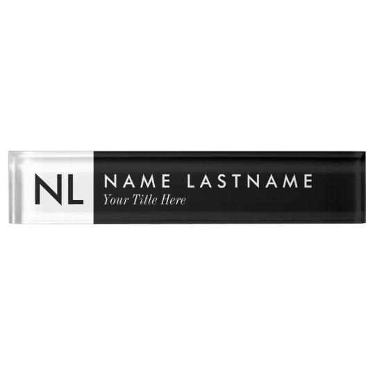 Elegant Black White Monogram Desk Nameplate Zazzle Com