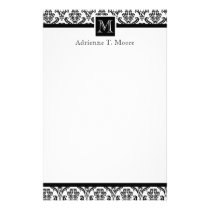 Elegant Black White Monogram Initial Stationery