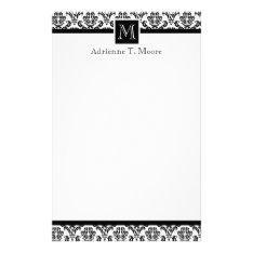 Elegant Black White Monogram Initial Stationery at Zazzle