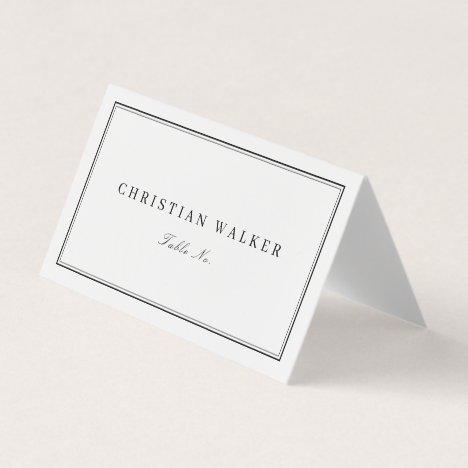 Elegant black & white monogram minimalist wedding place card