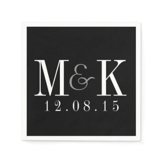 Elegant Black White Monogram Wedding Napkins