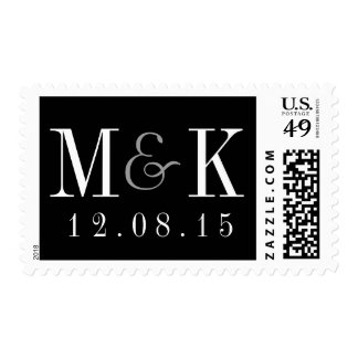 Elegant Black White Monogram Wedding Stamp