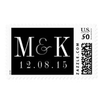 Elegant Black White Monogram Wedding Stamp