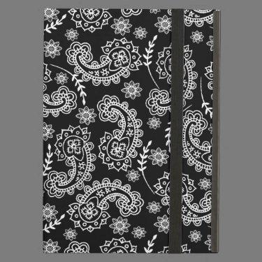 Elegant Black & White Paisley iPad Case Stand