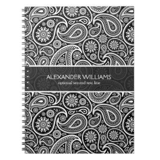 Elegant Black & White Paisley Notebook