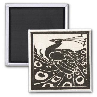 ELEGANT BLACK WHITE PEACOCK MAGNET