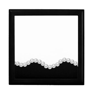 Elegant Black White Pearls Keepsake Gift Box