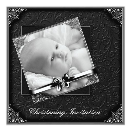 Elegant Black White Photo Christening Card