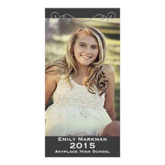 Elegant Black White Photo Graduation Picture Card