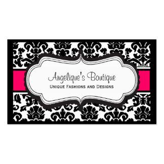 Elegant Black White & Pink Damask Business Cards