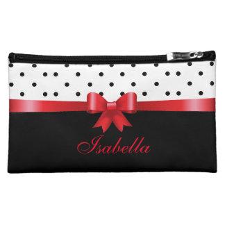 Elegant Black white polka dots red bow Personalize Makeup Bag