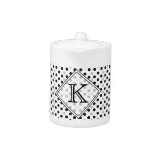 Elegant Black  White Polka/Dots Teapot