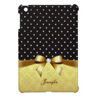 Elegant Black White Polka Golden Ribbon Diamond Case For The iPad Mini