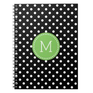 Elegant Black & White Polkadots Pattern Notebook