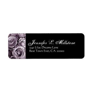 Elegant Black & White & Purple Roses Address Label