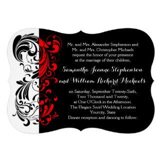 Elegant Black White Red Swirl Shaped Wedding Custom Invites