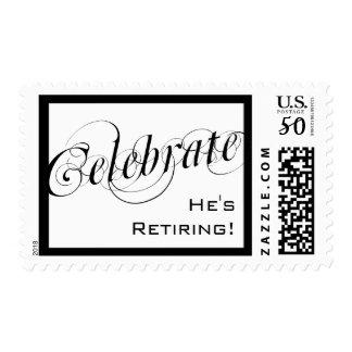 Elegant Black & White Retirement Custom Postage