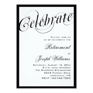 Elegant Black & White Retirement Party Invitations