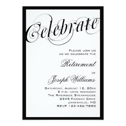 Elegant Black & White Retirement Party Invitations | Zazzle