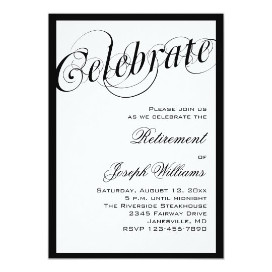 Elegant Black & White Retirement Party Invitations ...
