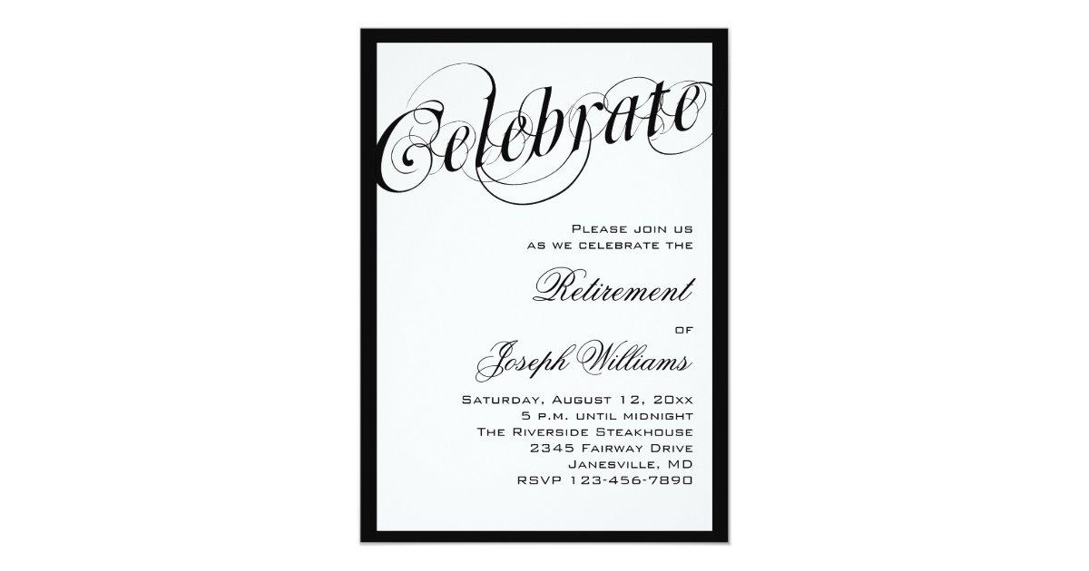 Elegant Black White Retirement Party Invitations – Retirement Invitation