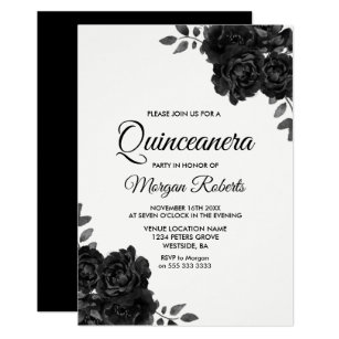 7578efaa83 Elegant Black   White Rose Quinceanera Invitations