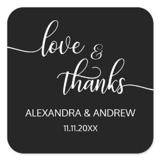 Elegant Black White Script Wedding Love & Thanks Square Sticker