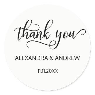 Elegant Black White Script Wedding Thank You Classic Round Sticker
