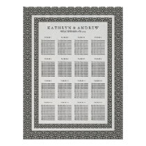 Elegant Black White Seigaiha Wedding Seating Chart