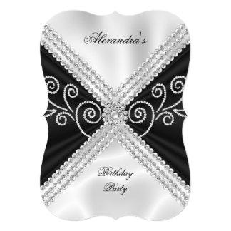 Elegant Black White Silk Jewel Birthday Party 5x7 Paper Invitation Card