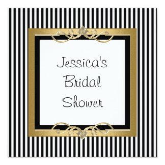 Elegant Black & White Stripe Gold Frame Shower Card