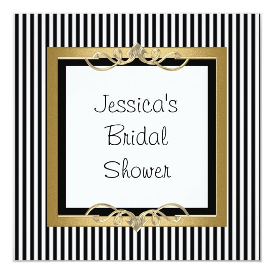 Elegant Black White Stripe Gold Frame Shower Invitation Zazzlecom