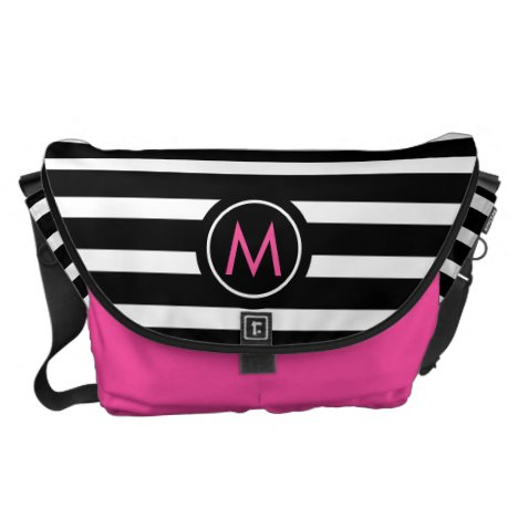 Elegant Black & White Striped Messenger Bag