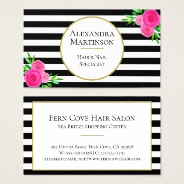 Professional Business Elegant Black White Striped Pink Watercolor Floral Business Card