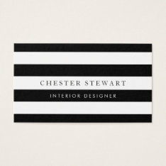 Elegant Black White Striped - Simple Minimalist Business Card at Zazzle