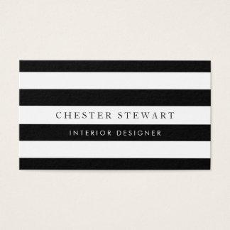 Elegant Black White Striped - Simple Minimalist Business Card
