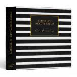 Elegant black white stripes gold appointment book 3 ring binder